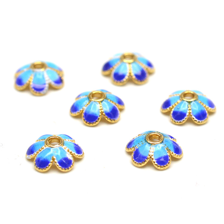 Hot Fashion 40pcs/lot Small Receptacle DIY Cloisonne Beads Caps Accessories Jewelry Findings & Components