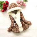 hooded leopard cotton thick baby girl coat warm faux fur collar coat for 2-6yrs baby girl female infantil outerwear clothes