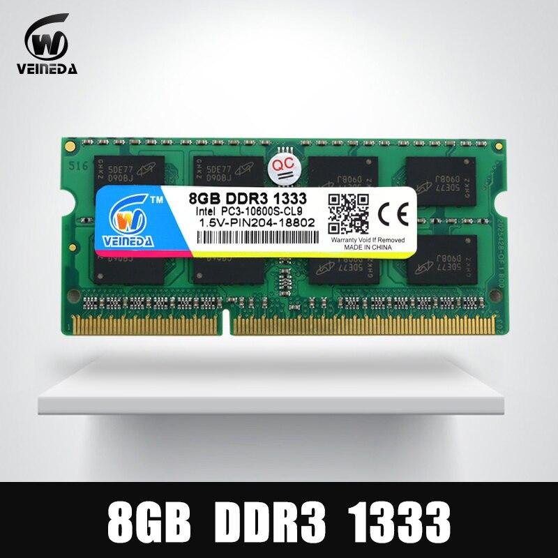 VEINEDA 8 gb 4 gb DDR3 Mémoire Ram ddr3 1333 PC3-10600 Sodimm Ram ddr 3 Pour Ordinateur Portable