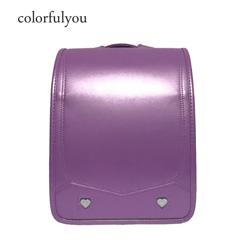 2019 NEW Japanese PU school bag Children's Backpacks For Girls boys Patent leather Orthopedic Backpack Love rivets kids book bag-in School Bags from Luggage & Bags    1