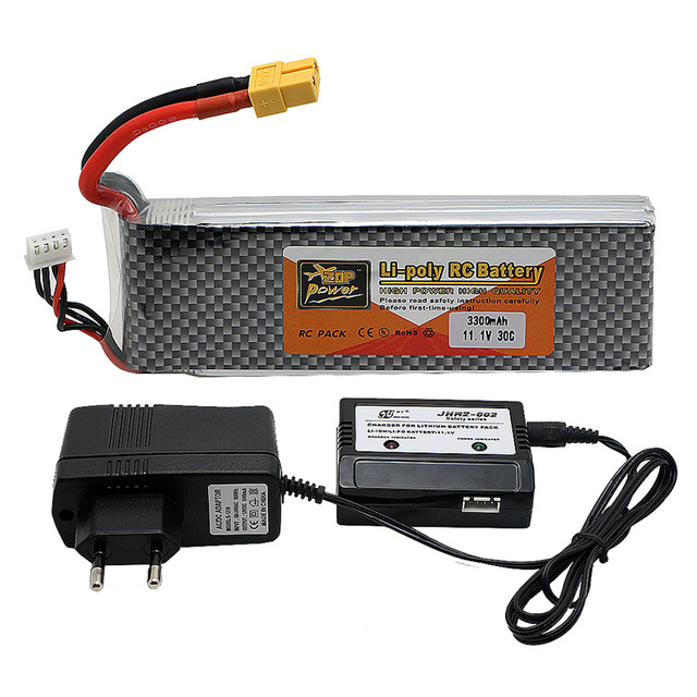 3s lipo battery 11.V 3300mah 30C and EU charger For Quadcopters Helicopters RC Cars Boats High Rate batteria lipo car parts