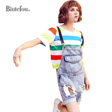 2019 [Biutefou] summer fashion denim cartoon patch designs Playsuits women suspender