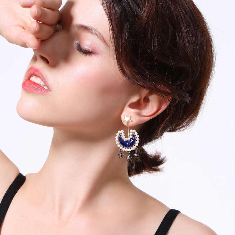 wing yuk tak Fashion Star Tassel Earrings Simulated Pearl Party Moon Rings Statement Jewelry Sets 2018