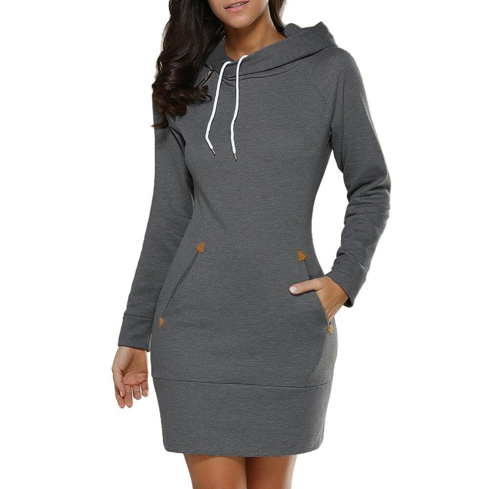 Dress Women Ladies Hooded Plus Size Autumn Sweatshirt Long Sleeve Hoodies Black Mini Dress 4XL 5XL Solid Pocket Hoodies