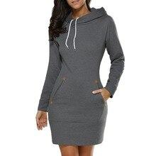 Dress Women Ladies Hooded Plus Size Autumn Sweatshirt Long Sleeve Hoodies Black Mini 4XL 5XL Solid Pocket