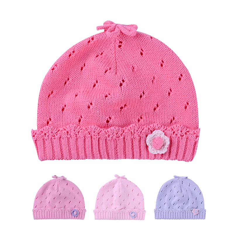 Knitted Baby Girls Hat Crochet Newborn Warm Hat Cotton Soft Autumn Beanie Flower Hollow Infant Hat Newborn Baby Girls Clothing