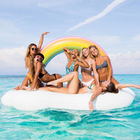 Super Large Thicken Inflatable Rainbow Float Eco friendly PVC Inflatable Rainbow Clouds Bed on The Water 240*145cm 300kg Bearing