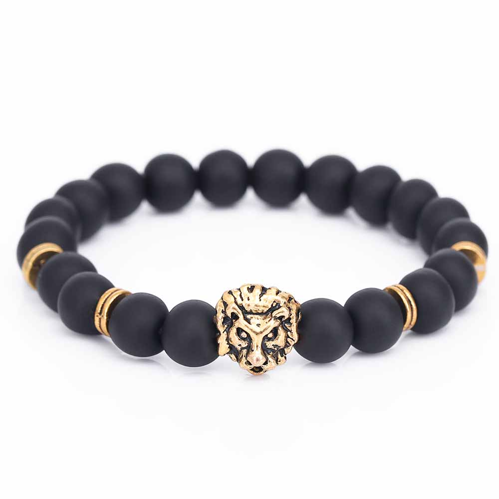 KISS WIFE 6 Colors Antique Gold-Color Buddha Leo Lion Head Bracelet Black Lava Stone Beaded Bracelets For Men Women