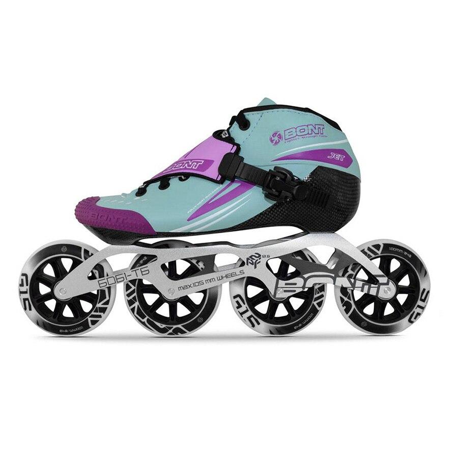 100% Original Bont Jet 2PT Speed Inline Skates Heatmoldable CarbonFiber Boot 4*90/100/110mm 6061 Frame G15 Wheel Skating Patines цена