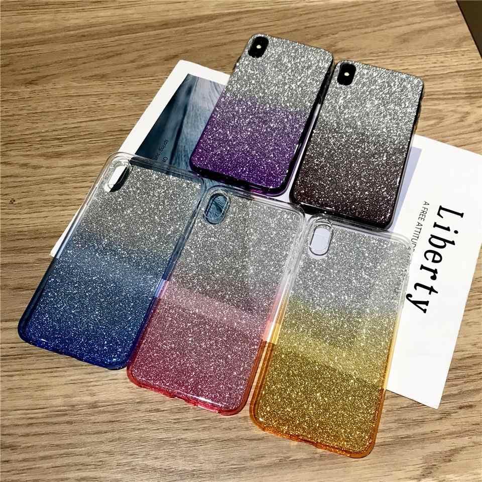 Rainbow brokat TPU silikonowy futerał na telefon dla iphone XS MAX XR Sony XZ Z5 C5 C6 Xperia X XA XA1 XA2 XP Ultra XR XC XZ1 XZ2 pokrywa