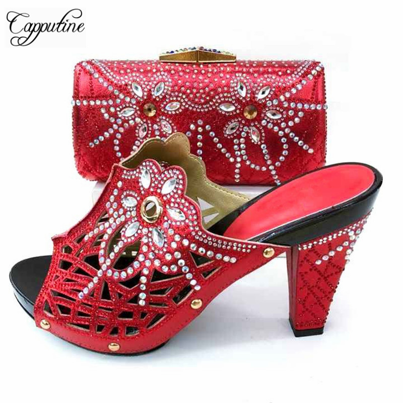 Hot Sale Hollow Out PU With Stone Shoes And Bag Set Italian Fashion High Heel Shoes And Bag Set For Party 8Colors TX-672 cd158 1 free shipping hot sale fashion design shoes and matching bag with glitter item in black