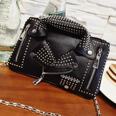 Rivets Suit Leather Handbag 2016 Fashion Famous Designer Brands Women Messenger Bags Black Shoulder for Teenage Girls