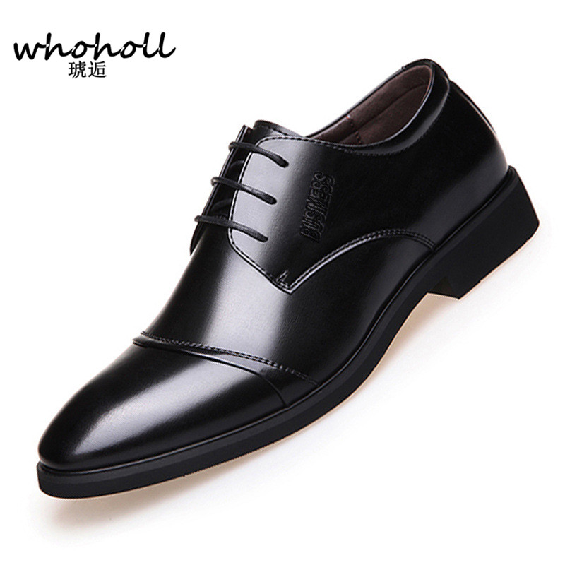 WHOHOLL 2018 Men Formal Shoes Microfiber Leather Bullock Men Flats Shoes British Style Men Oxfords Fashion Dress Shoes For Men snake pattern men genuine leather shoes fashion men oxfords shoes increased british style goodster handmade men leather shoes