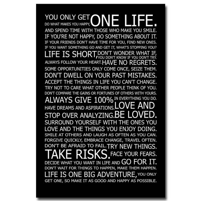 Love Your Life – Motivational Inspirational Quotes Art Silk Fabric Poster 13×18 24×36 Inches Home 06