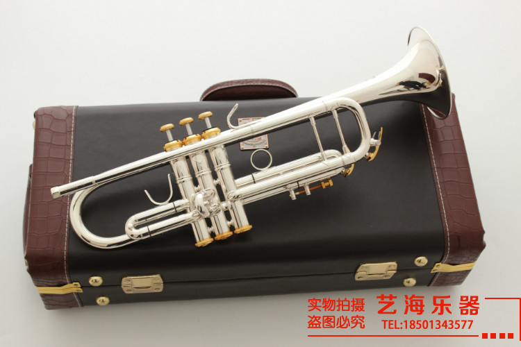 EE. UU. Bach Stradiv Trompeta Bb LT197S-99 de la placa de plata Musical instrumentos de la música Profesional cuerno Trompete Tromba Trompeta