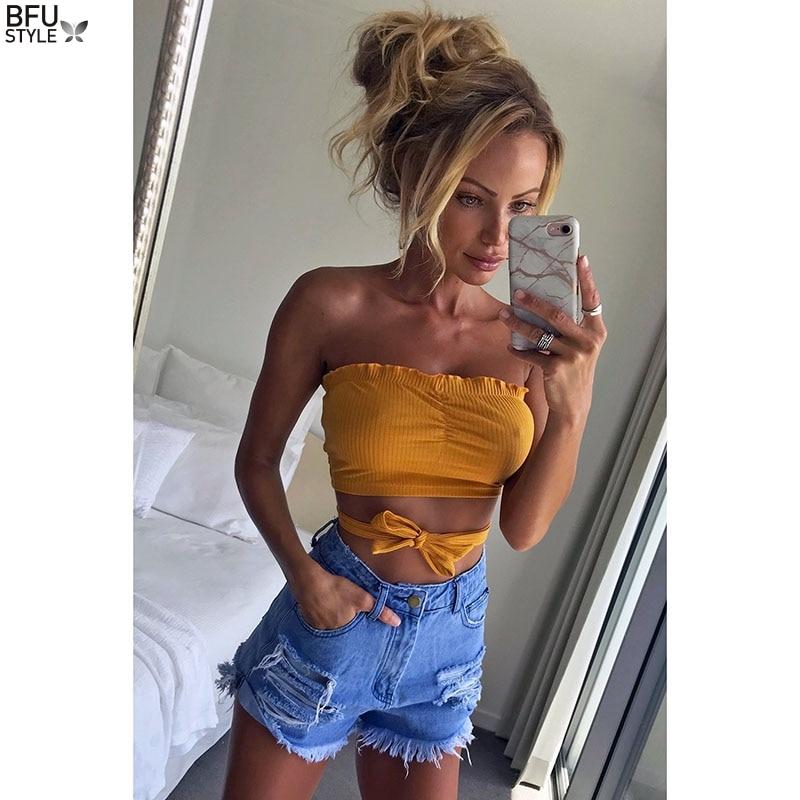Off Shoulder T Shirt Women Soild Cropped Top Sleeveless Shirt Sexy Slim Shirt T-shirt Chest Dropshipt