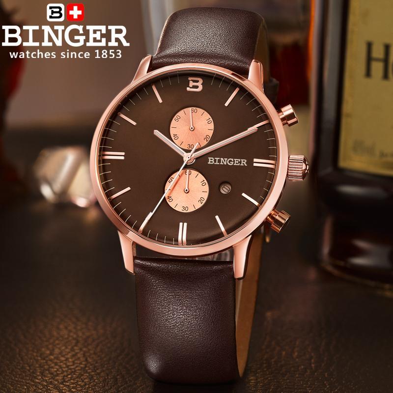 Szwajcaria zegarki luksusowe marki zegarki na rękę BINGER Zegarek - Męskie zegarki - Zdjęcie 4