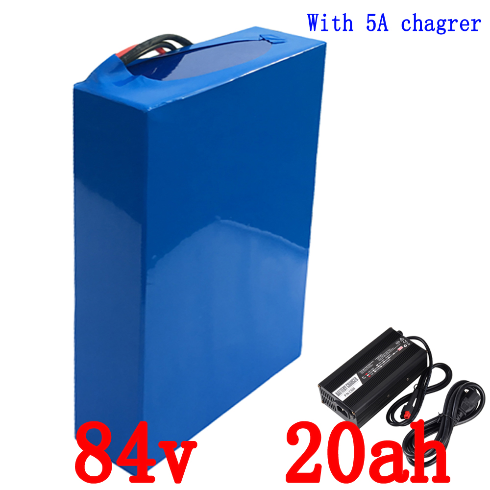 цена на Free Shipping  High Powerful 1800w Electric Bike Battery 84v 20Ah Lithium ion Battery 84v with 96.6v 5A Charger Built in 30A BMS
