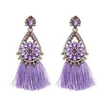 Olsen Twins Brand Vintage Crystal Water drop Handmade Fringe Tassel Earrings boucle d oreille Female T Show Jewelry
