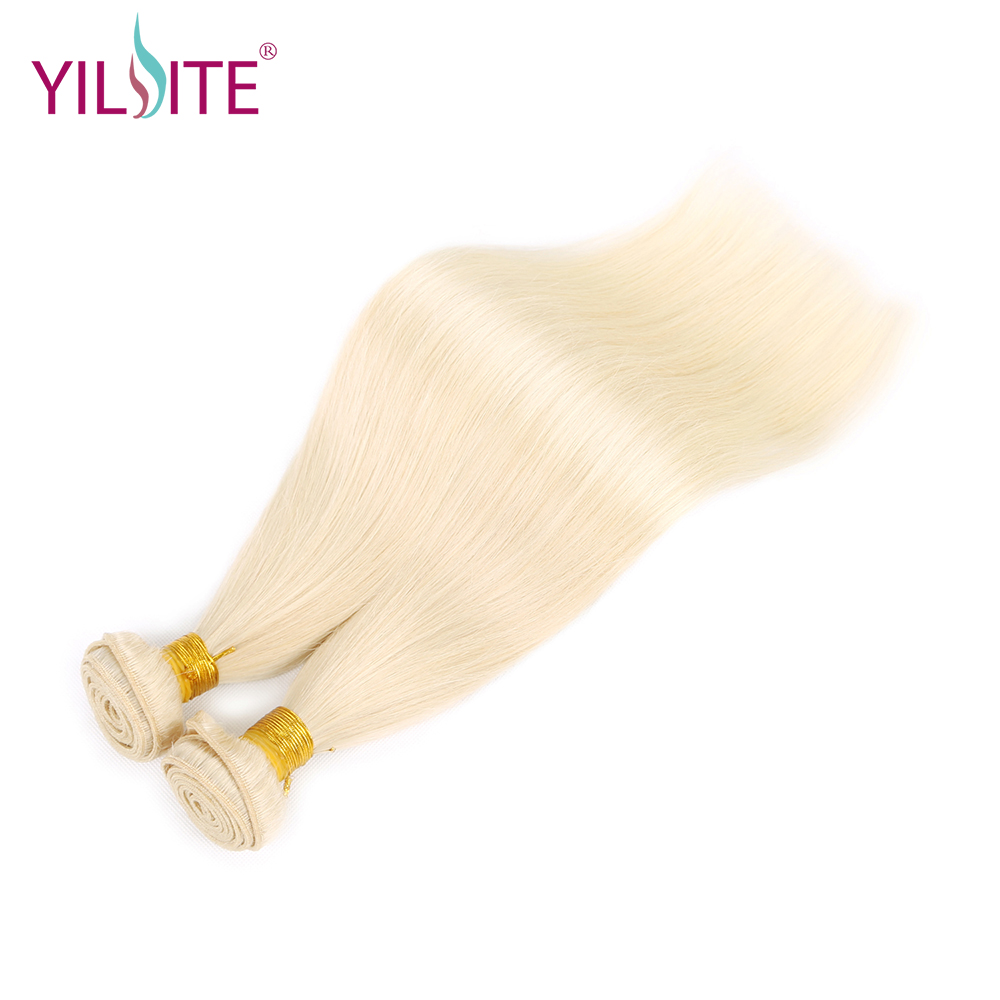 YILITE Indian Silky Straight Human Hair Weave,Blonde Color #60 Non-remy Hair Extension Bundles No Tangle 12inch-22inch 1 Bundle
