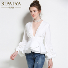 SIPAIYA 2017 New Fashion Sexy Deep V neck Lantern Sleeve OL Blouse Womens Shirt Tops Summer
