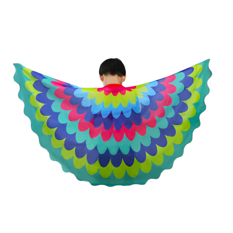 Leuk Speciale 120*70 Cm Vliegende Vleugels Pauw Sjaal Meisjes Kostuums Carnaval Jurk Dans Show Kids Verjaardag Regenboog Patroon Speelgoed Bespaar 50-70%