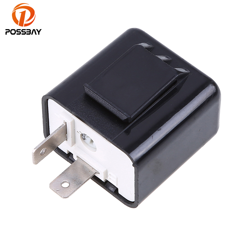 POSSBAY Universal Adjustable Frequency Square Flashing LED Flasher Motorcycle LED Lights Turn Signal Indicator 12V Flash Relay