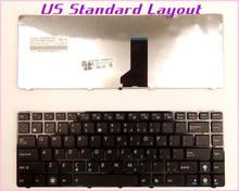 Novo Teclado EUA Layout para ASUS X42DE X42JE X42JV X42DQ P42Z P42J P43 P43S P43SJ N43EI N43E Laptop/Notebook COM MOLDURA PRETA