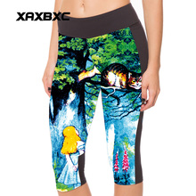 New 1076 Sexy Girl Women Alice in Wonderland Cheshire cat 3D Prints Workout Fitness Cropped Trousers