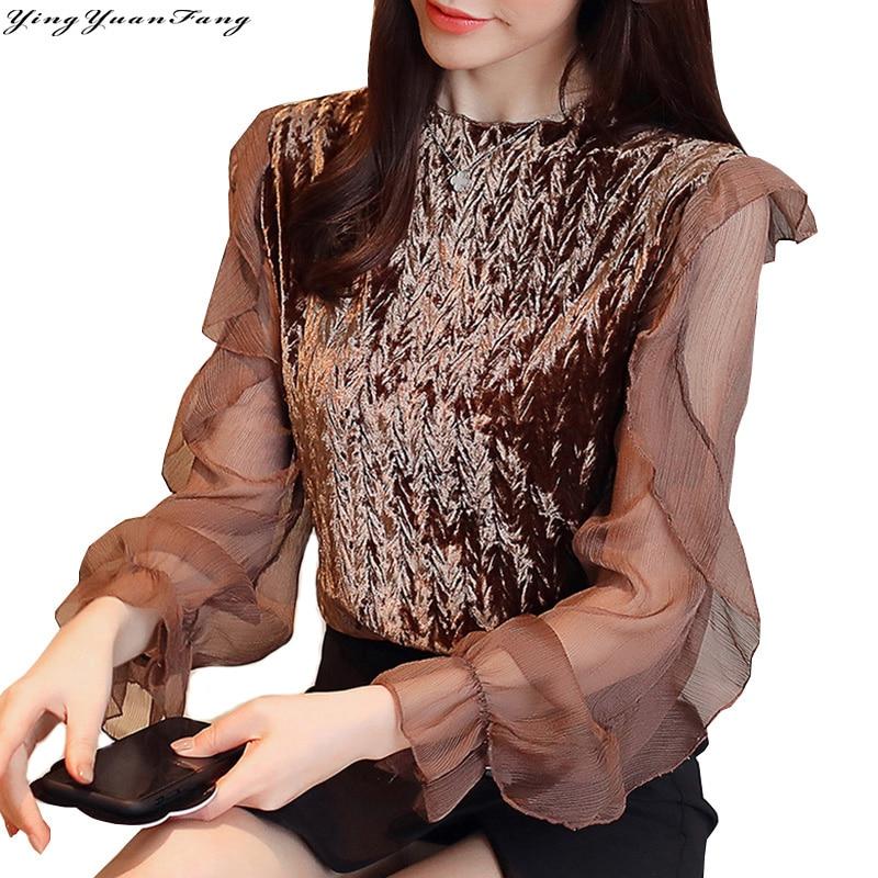 YingYuanFang New fashion Pleat chiffon stand collar  long butterfly sleeve  women's shirt
