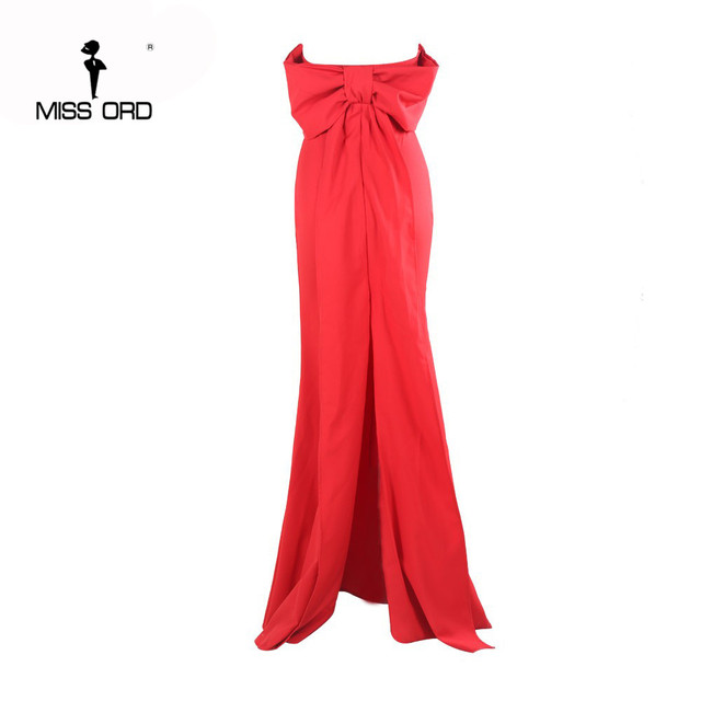 Free Shipping  Missord 2019 Sexy Floor-Lenght Bow backless elegant party dress strapless bodycon  FT3901 3