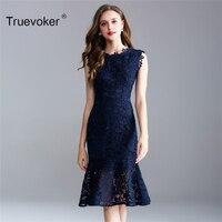 Truevoker Sommer Designer Kleid Frauen Hohe Qualität Elegante Dunkelblau Stickerei Häkeln Ausschnitt Meerjungfrau Knie Legnth Kleid