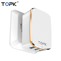 TOPK USB Charger 5V3 4A Auto ID Travel Charger Wall Charger Adapter With EU US Smart