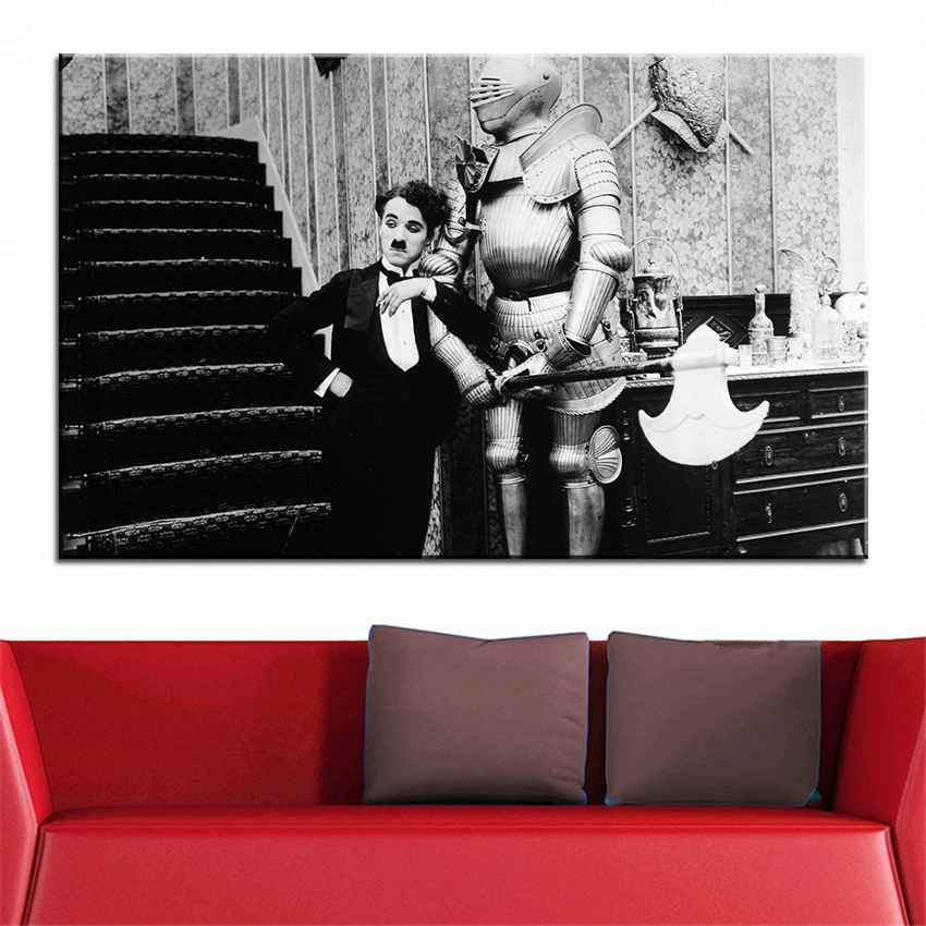 Large size printing oil painting charlie chaplin wall painting decor wall art picture for living room painting no frame