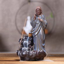 Top Quality Home Decor Ceramic Incense Holder Holy Mother Maria Jesus Statue Backflow Incense Burner for Christians 10x11x19CM(China)