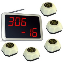Singcall. Wireless Server Paging System,for hotel, 5 white single button pagers and 1 receiver