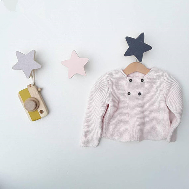Scandinavian Style Nursery Kids Room Decoration Wall Hook Wooden Star  Clothes Rack Black White Pink Blue