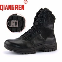 QIANGREN Military Brand Men S Spring Autumn Genuine Cow Leather Mush Rubber Tactical Boots Outdoors Anti
