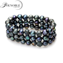 Blanco verdadero de agua dulce negro perla pulsera de las mujeres, doble pulsera de perlas naturales joyería hija girl mejor regalo de cumpleaños blanco
