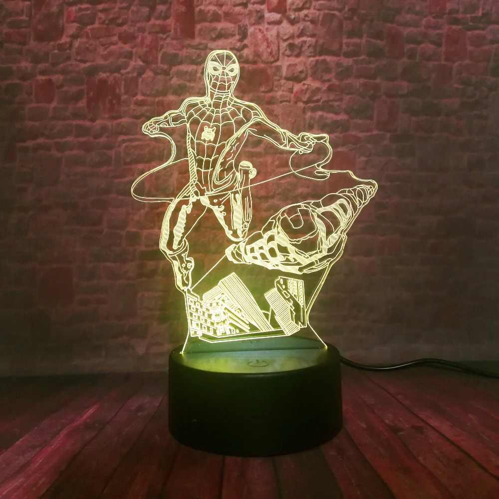 Novidade marvel vingadores dos desenhos animados super-herói figura homem de ferro 3d lâmpada mesa humor luz da noite usb led crianças presente brinquedos