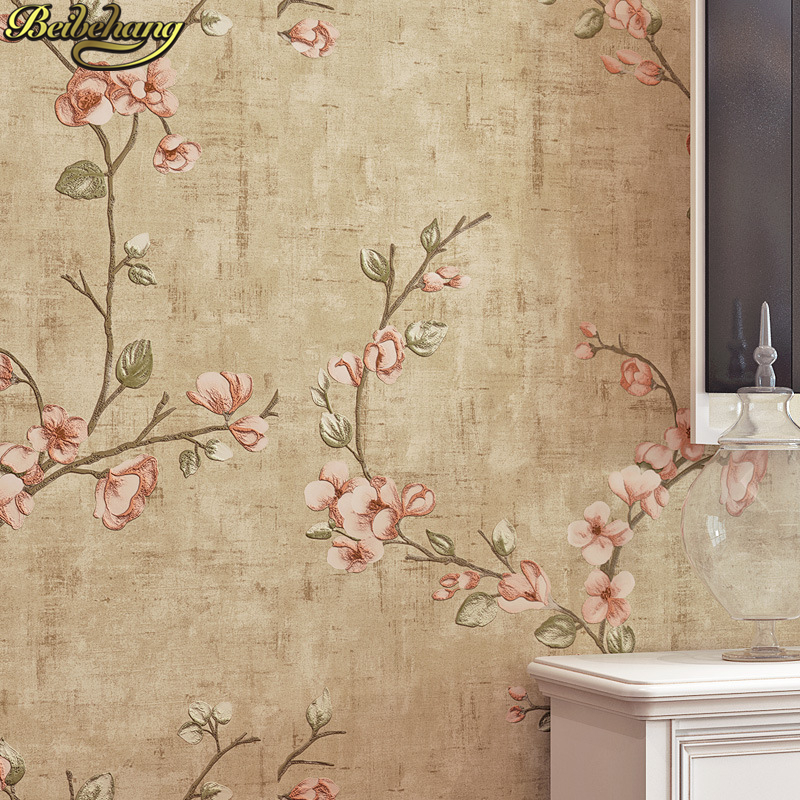 beibehang contact paper Vintage american pastoral arabesque floral wallpaper for living room bedroom background wall paper roll beibehang modern small fresh garden flocking deerskin wallpaper for living room bedroom tv background floral wall paper roll