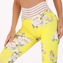 New Sexy Lace Splicing Waist Hips Leggings Women Print Pocket Workout Clothes Push Up Fitness Female