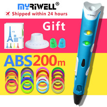 myriwell 3d pen +20 Colour * 10m ABS filament(200m),3 d pen 3d model,Creative 3d printing pen,Best Gift for Kids creative,pen-3d myriwell 3d pen rp 100b with pla abs filament 200m 3d printer pen 3 d pen free fingersleeve drawing tool the best child gift