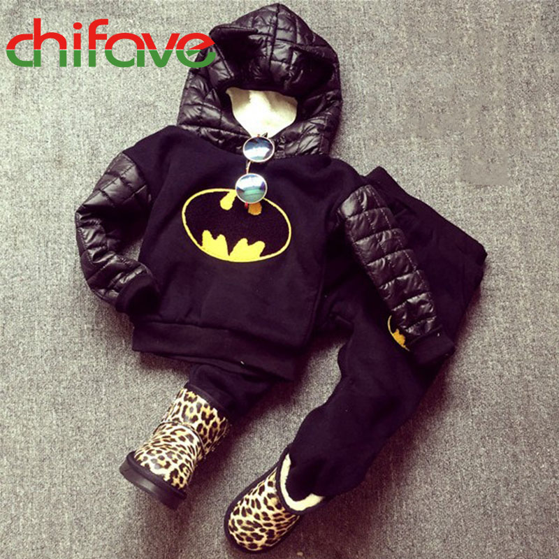 ФОТО chifave 2016 Autumn Winter Warm Clothing Hooded Baby Boys Sets Long Sleeve Pullover Sweater+Pants Suit Sets for Kids Boys Sets