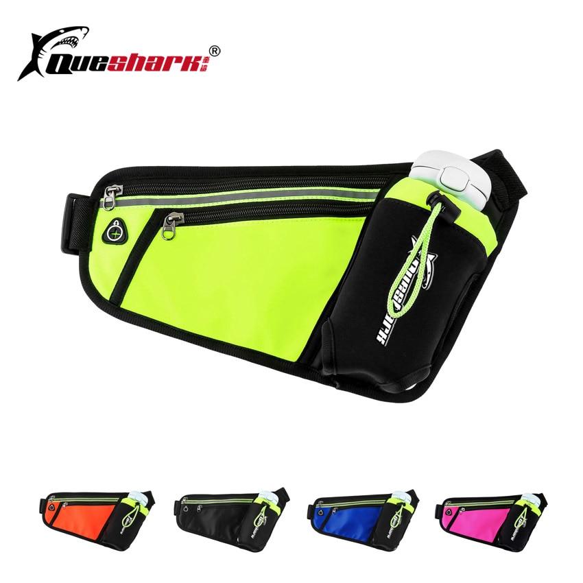 QUESHARK Unisex Running Waist Bag With Water Bottle Pouch Marathon Jogging Walking Waist Belt Pack Anti-theft Fanny Phone Bag