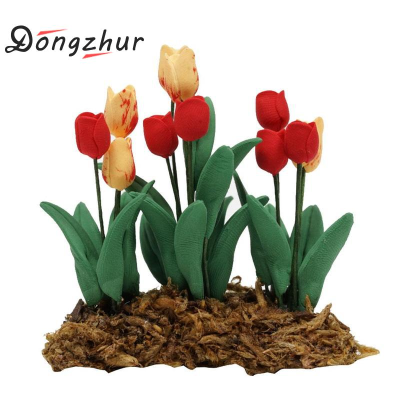 Dongzhur Mini Model Tulip Flower Pots Miniaturas 1:12 Dolls House Furniture Dollhouse Garden Accessories Toy House Decoration image