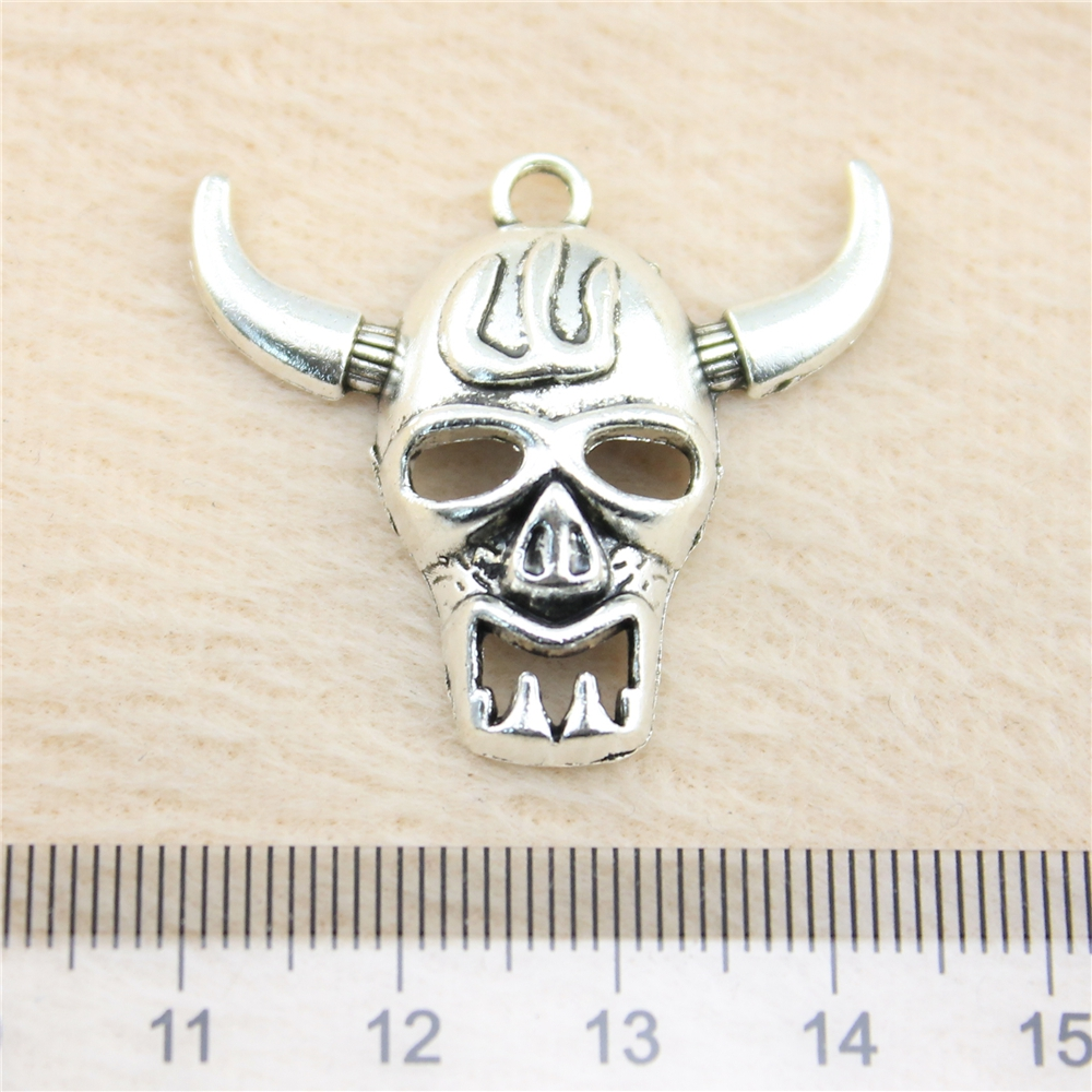 2pcs Metal Charms Bracelet Pendant For Bracelets Vintage Decoration Jewelry Ox Skull Pendant Jb10955