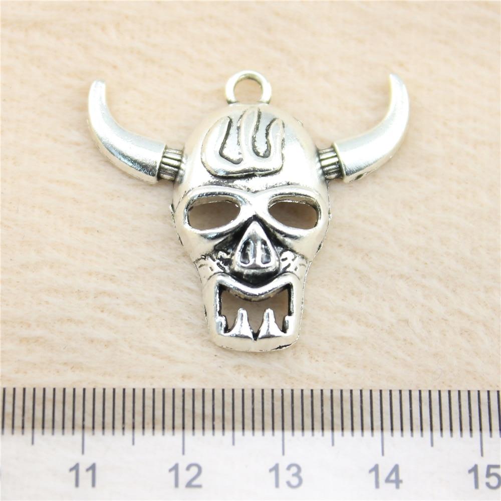 2pcs Metal Charms Bracelet Pendant For Bracelets Vintage Decoration Jewelry Ox Skull Pendant Jb10955