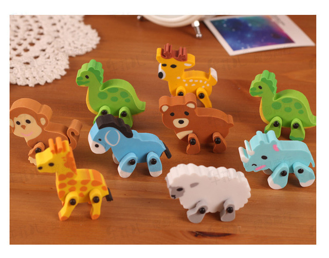 1lot 36pc cartoon animal eraser cute small prize rubber student erasers
