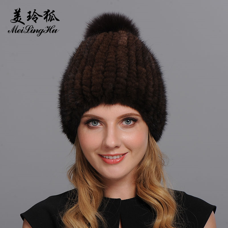 New Real Mink and Fox Fur Hat for Russian Women Winter Warm Knitted Mink Fur Hats Beanie Cap Fur Pom Pineapple Hat for Girls
